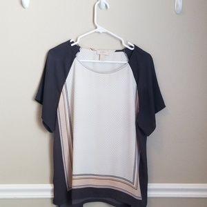 Grey, Cream, white blouse